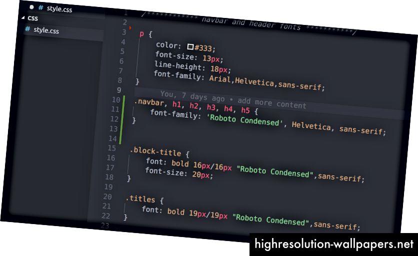 CSS uzorak koda