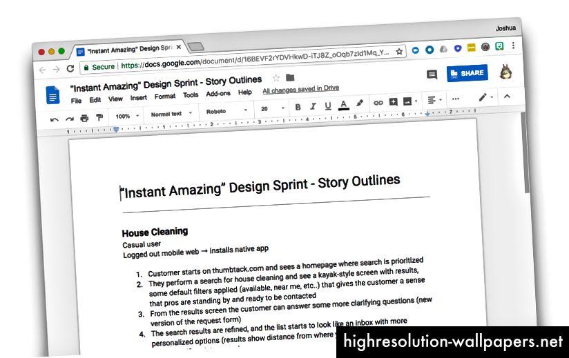 Redactarea unui cont de poveste simplă înainte de scufundări în explorări de proiectare