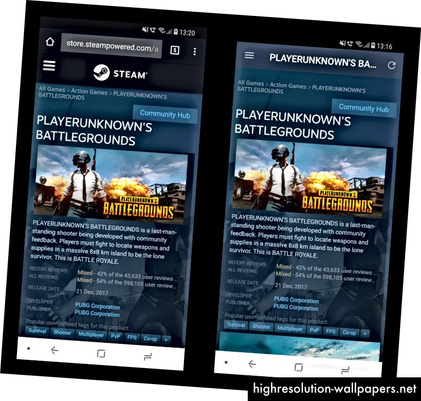 Web stranica Steam na Chromeu (lijevo), Steam za Android (desno)