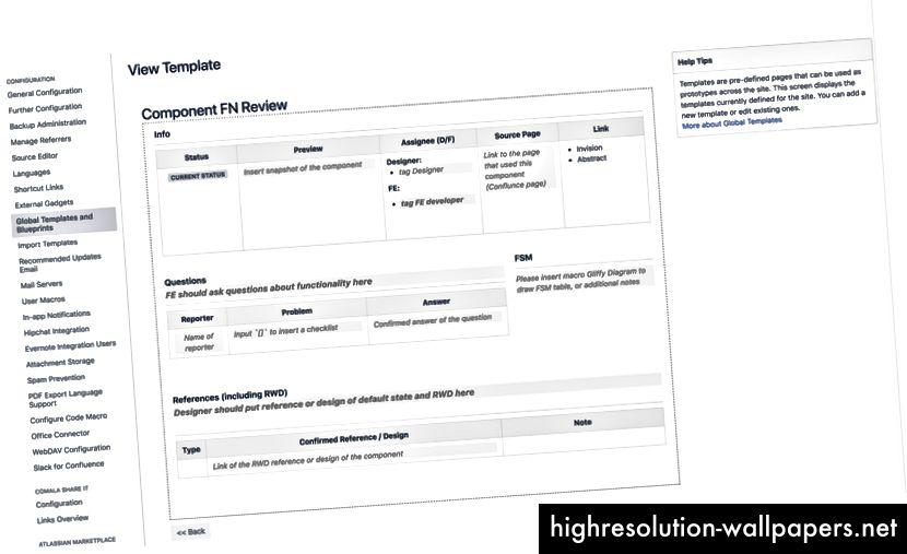 modello personalizzato per la revisione dei componenti in Confluence