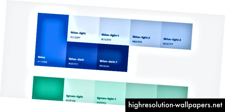 Οι σημερινές αποτυχίες χρώματος δείχνουν αποχρώσεις, αποχρώσεις και τιμές hex.