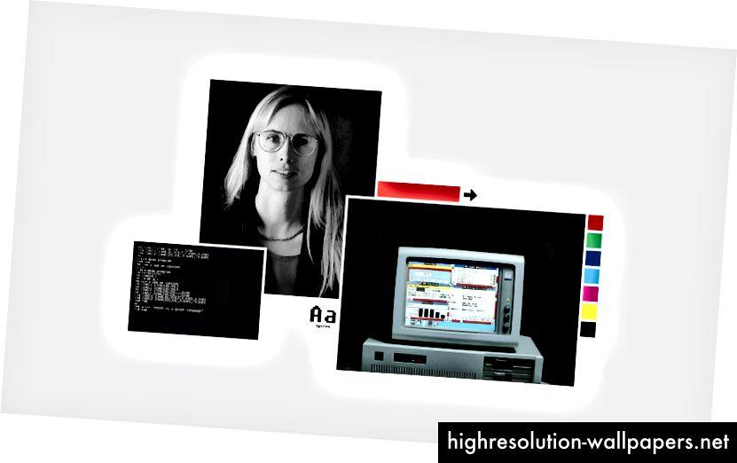 (Da sinistra a destra: schermo MS-DOS, Virginia Howlett, carattere Bitmap, Windows 2.0 + la barra di scorrimento rossa, i famigerati 8 colori)