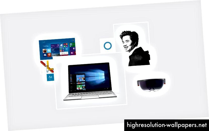 (Da sinistra a destra: Windows 8, ispirazione per l'unificazione del Design Language di Microsoft, carattere tipografico dell'interfaccia utente Segoe, Windows 10, logo Cortana, Albert Shum, Microsoft HoloLens)