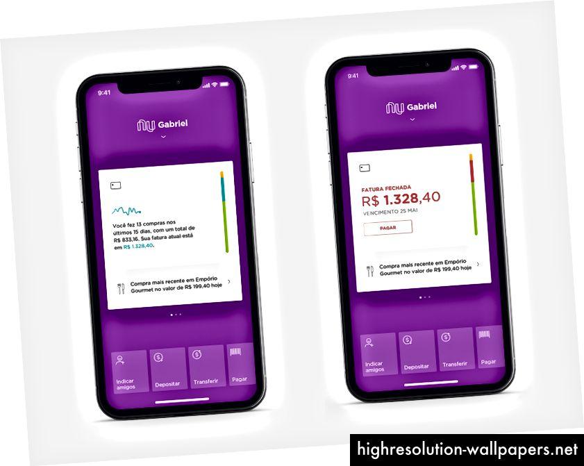 Kreditkort-widgets: aktuelle udgiftsstatistikker og klar til betaling.