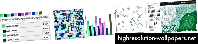 Colorgorical (til venstre) viser områder, søjler og cirkelkonturer, hvorimod ColorBrewer (til højre) blev bygget til kort og viser naturligvis et koropletkort med den valgte palet.