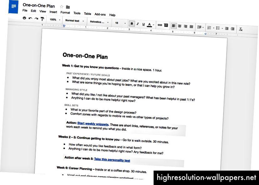 Plan 1 la 1: Oferirea structurii pentru primele câteva întâlniri