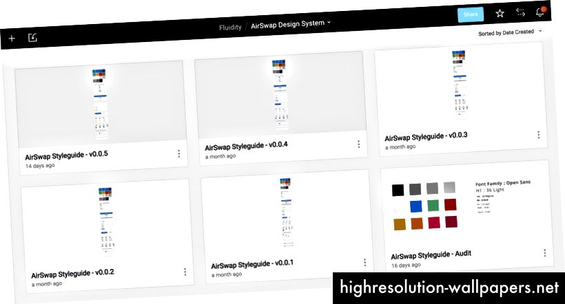 Varias versiones de la biblioteca de componentes, renderizadas en Sketch y cargadas en Figma