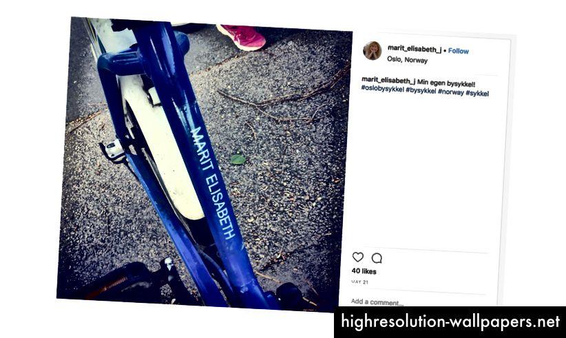 Προστέθηκε στο Instagram, όταν ταξίδευε με ένα ποδήλατο Oslo Byskkel με το όνομά του