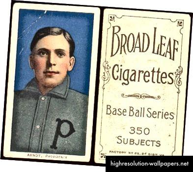 Et eksempel på et af de tidlige cigaretkort, der fulgte med cigaretpakker, betød at holde pakkerne intakte. (kilde: Dave's Vintage Baseball Cards)