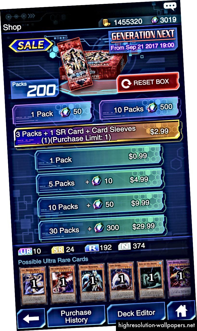 I tilfælde af Yu-Gi-Oh Duel Links starter spillerne spillet med en startboks og et sæt antal ædelstene, som de kan bruge til at bruge på boosterpakker i spillet. Spillet bruger også den psykologiske taktik for knaphed (købgrænse: 1) for at få brugerne til at tro, at den engangs specialtilbud på $ 2,99 indeholder unikke genstande, der ikke findes i gratis pakkerne.