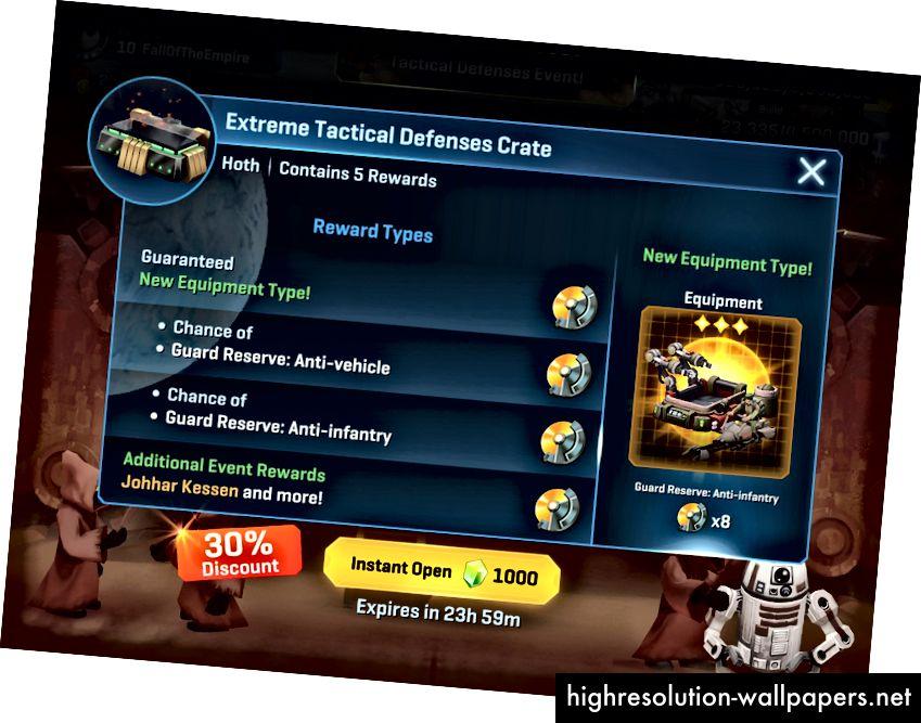 Et eksempel på et tidsbegrænset tilbud fra Star Wars Commander, et gratis spil-til-strategispil til mobil med køb i spillet. (kilde)