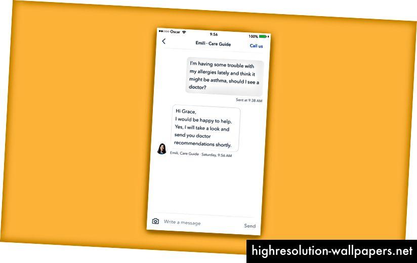 Участники могут напрямую и безопасно отправлять сообщения своим командам консьержей из приложения Оскар.