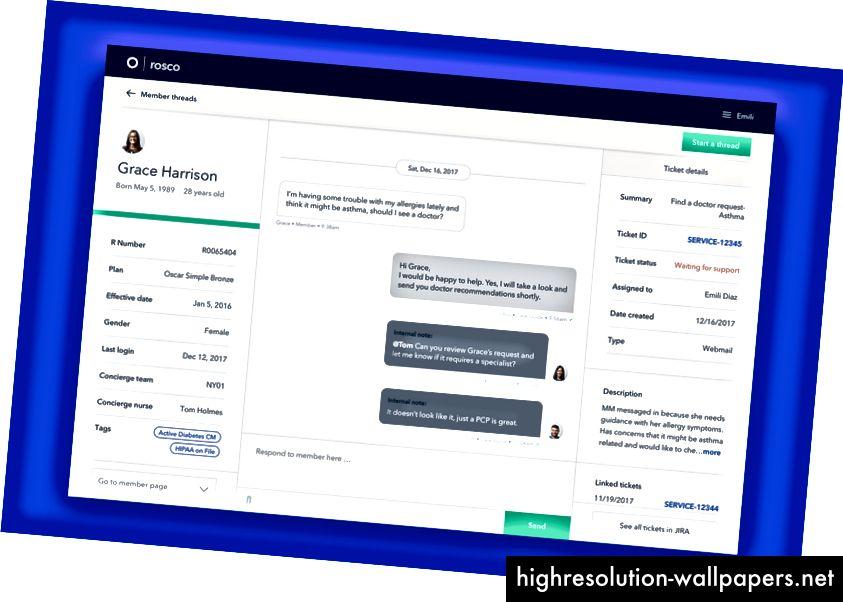 Η εσωτερική διεπαφή μηνυμάτων επιδεικνύει χρήσιμες πληροφορίες για τις ομάδες Concierge για αναφορά.