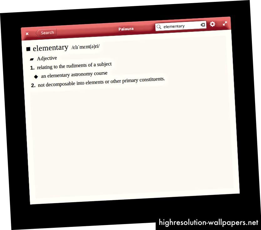 Словарь приложение Palaura использует шрифт с засечками для отображения определений