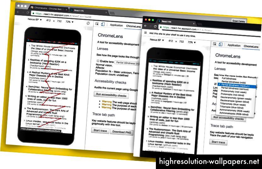 Extensia Devlools ChromeLens, cu multiple opțiuni pentru a emula diferite forme de orbire, urmărirea filelor și auditul accesibilității.