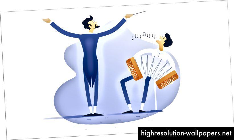 Ο ηθοποιός ορχήστρας καθοδηγεί τα μέλη της ορχήστρας για να παίζουν όλοι την ίδια μουσική. Ο ίδιος τρόπος με τον υπεύθυνο του έργου.