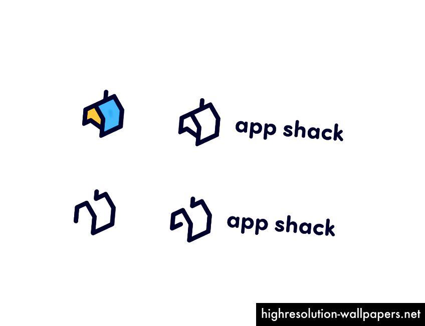 Παραλλαγή με λιγότερο αφηρημένο λογότυπο με αναγνωρίσιμο σχήμα σπιτιού με στρογγυλεμένες γωνίες