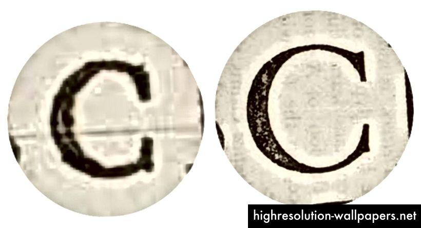 Garamond의 18 세기 컷은 광학 크기로 컷되었습니다. 첫 번째 이미지의 크기는 6pt이고 두 번째 이미지의 크기는 72입니다. 획 대비의 차이에 유의하십시오. 더 큰 크기로 훨씬 더 세련됩니다.