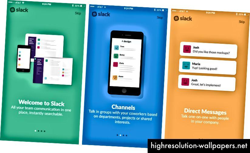 UX-ul de încărcare bazat pe diapozitive Slack