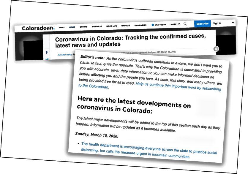 Партнер отдела новостей Колорадо использовал примечание редактора в верхней части своего репортажа о Коронавирусе, чтобы напомнить читателям об их миссии служения сообществу.