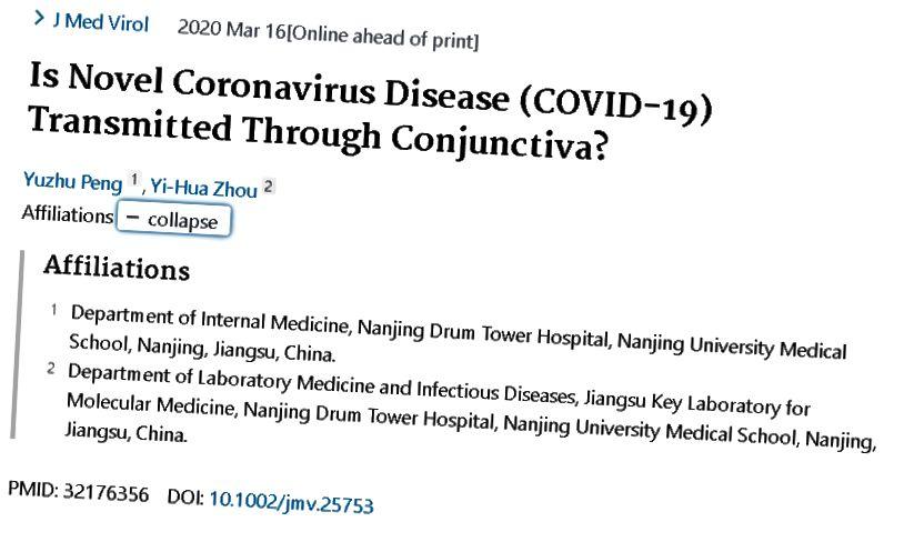 Forrás. Idézet: Peng Y, Zhou YH. Új koronavírus-betegség (COVID-19) terjed a kötőhártyán keresztül? [online közzététel előtt, nyomtatás előtt, 2020. március 16.]. J Med Virol. 2020-ig; 10.1002 / jmv.25753. doi: 10.1002 / jmv.25753