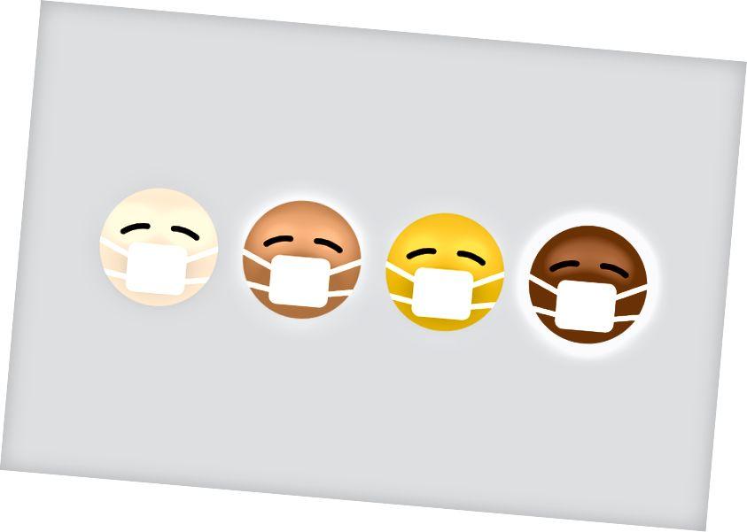 Bild av fyra smileyikoner av fyra olika nyanser av brun hudfärg som alla bär vita masker.