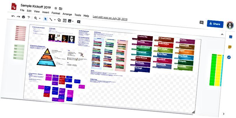 Ένα πρόχειρο πρόγραμμα kickoff γίνεται στο Google Drawing