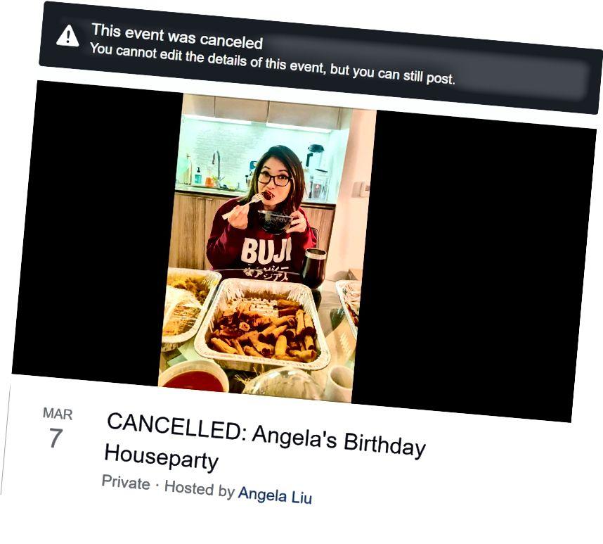 Imagen de la invitación a la fiesta de cumpleaños cancelada (sí, cancelada puede escribirse con una o dos