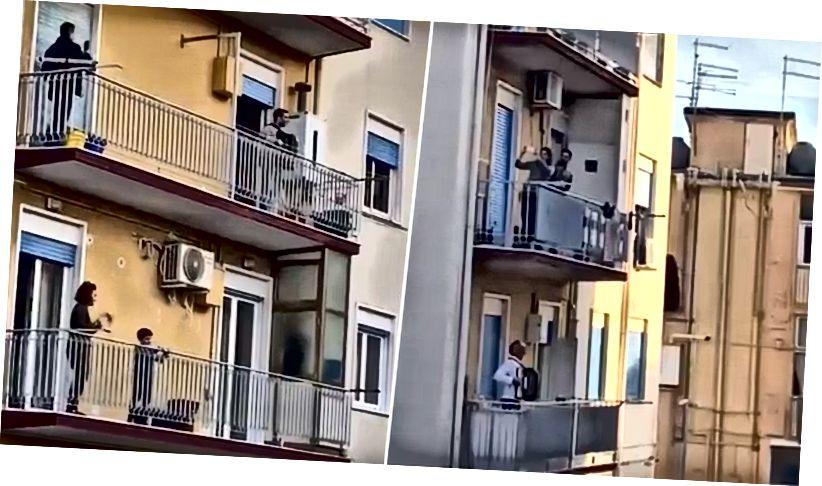 Karanténban lévő olaszok énekelnek erkélyükről.