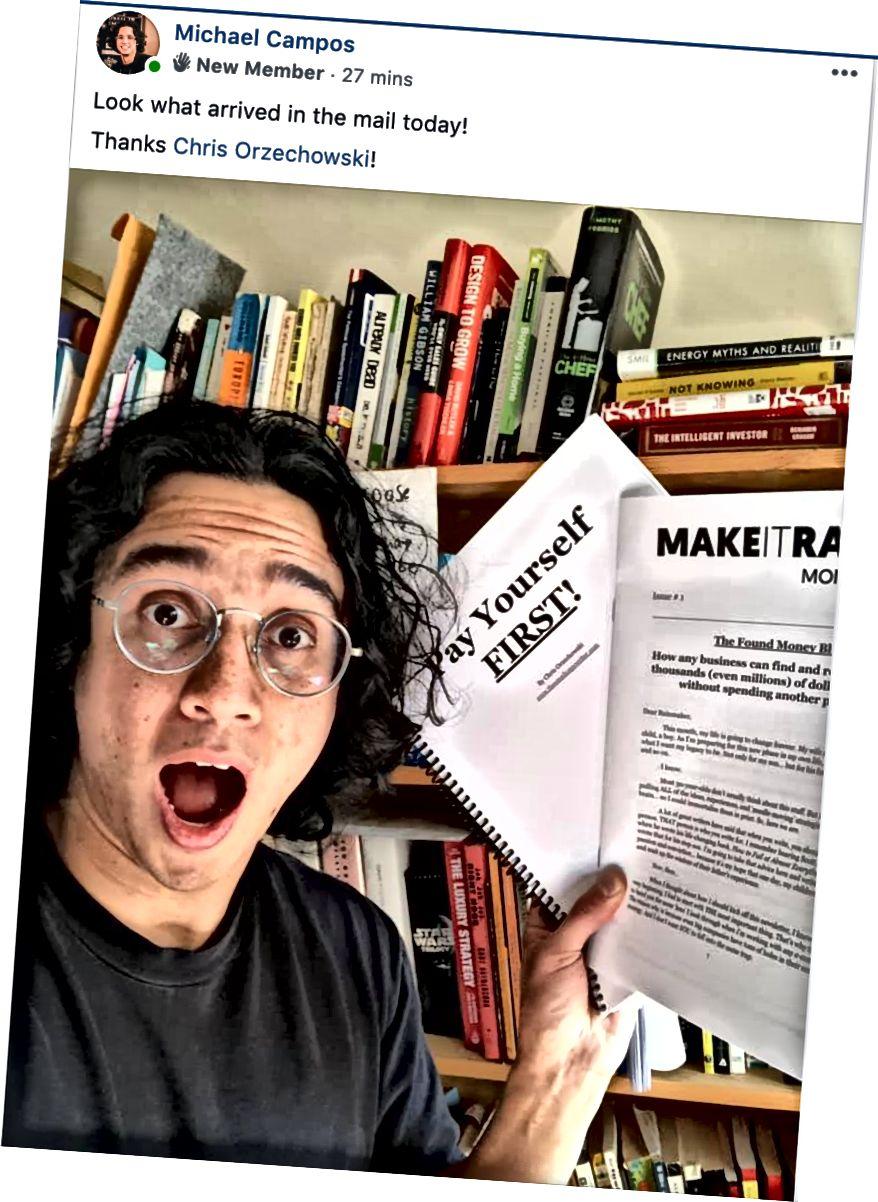 Майкл Кампос - ежемесячный подписчик Make It Rain, который собирается сделать это дождем по электронной почте