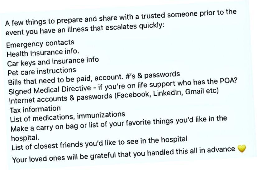 انڈی بییو کے ایک دوست نے 2016 میں ایک وائرس سے متاثرہ اسپتال میں داخل ہونے والے پہلے ہاتھ سے ہونے والے تجربے سے متعلق کاموں کی فہرست شیئر کی ہے۔