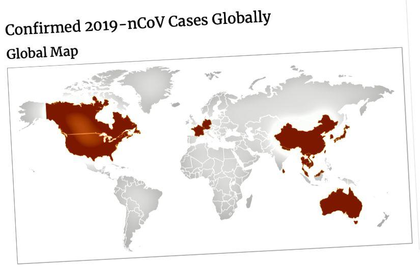 A Betegség Ellenőrzési és Megelőzési Központok (CDC) frissített térképe a megerősített nCoV-esetekről 2019. január 28-án