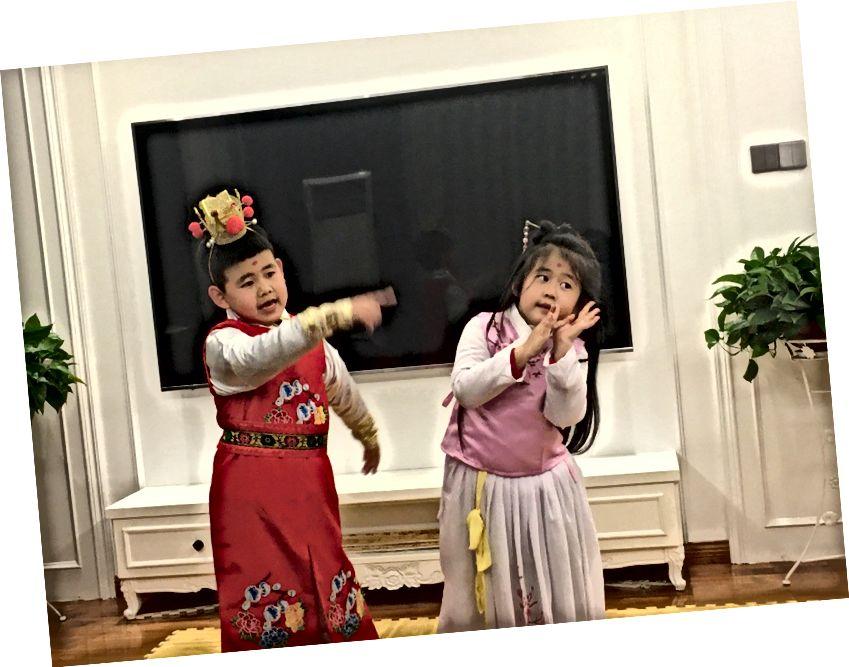 میرے چھوٹے چچا زاد بھائیوں نے روایتی sing (یو اوپیرا) گانا تیار کیا۔ ڈریم آف ریڈ چیمبر کا یہ مشہور منظر تھا
