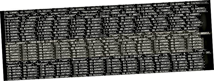 Djangon generoima ja CDN: n välityksellä toimitettu geoJSON-kappale (Tšekin tasavallan tiedot on korostettu)