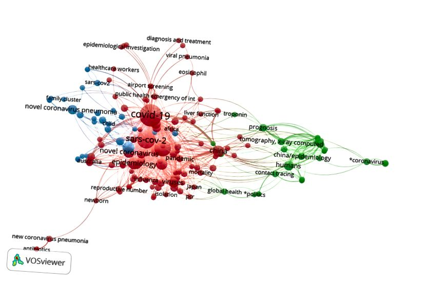 Mapa de coincidencia de las 166 palabras clave principales utilizadas en los artículos relacionados con COVID-19. En dicho mapa de coincidencia, cuanto más grande es un círculo, más a menudo se usa la palabra clave correspondiente. Cuanto más se acercan las dos palabras clave, más a menudo aparecen en los mismos artículos. Los colores muestran grupos de palabras clave que a menudo aparecen en los mismos artículos. La visualización se crea con el software VOSviewer.