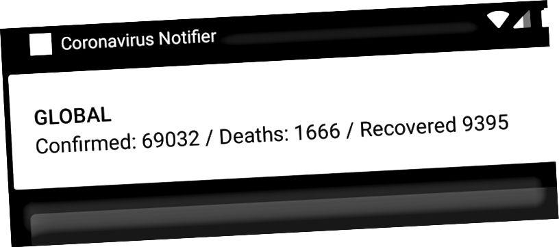 Notificações mostrando os números infectados globais na atualização