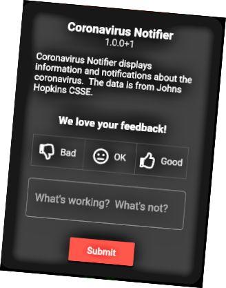 Sobre a caixa de diálogo com um formulário de comentários do usuário