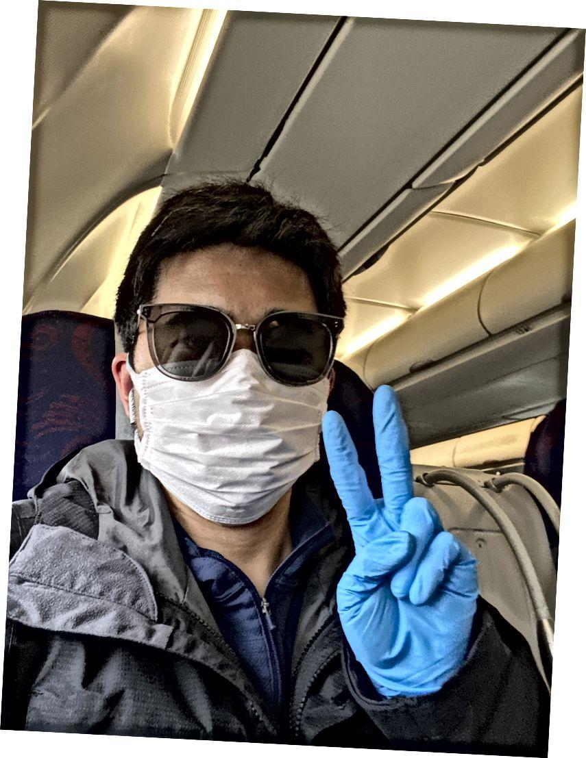 På flyget från Shenzhen till Peking för att återvända till jobbet efter det kinesiska nyåret