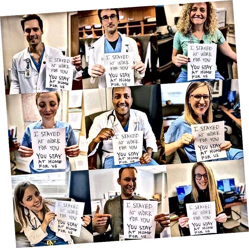 Kuva: Lääkärit ja sairaanhoitajat kehottavat ihmisiä pysymään kotona. Lähde: Online