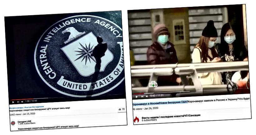 Kuvakaappaukset CIA: ta väittävistä YouTube-videoista on koronaviruksen takana ja että se on Yhdysvaltojen bioase.