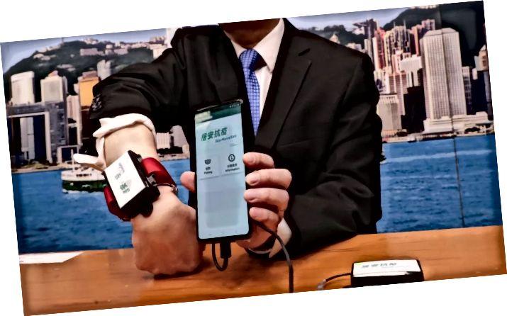 Bild: foto taget på en regeringskonferens från Hong Kong om armbandsband för karantänspårning