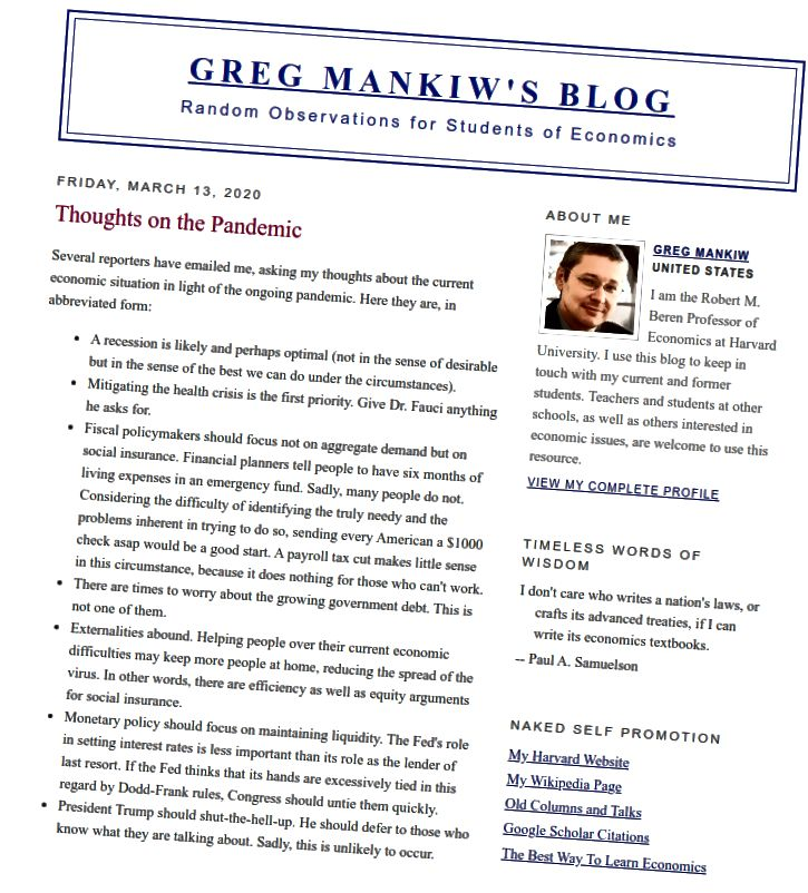 http://gregmankiw.blogspot.com/2020/03/thoughts-on-pandemic.html