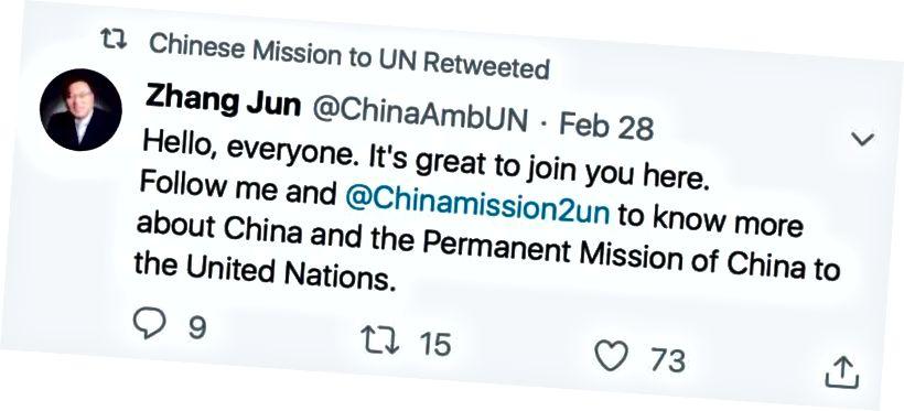 Zhang nagykövet tweetje a Kínai Misszióról, az ENSZ számlájára.