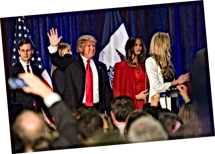Miembros de la familia Trump-Kushner. (Max Goldberg / Iowa State Daily de EE. UU.)