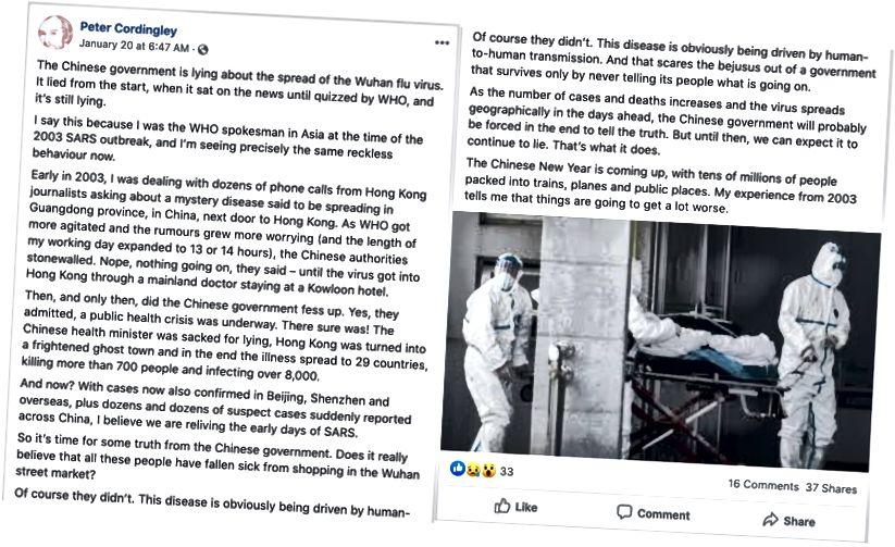 Peter Cordingley, a WHO Ázsia szóvivője a SARS kitörés idején a Facebookon azt állítja, hogy a kínai kormány hazudik az új koronavírusról. (Forrás: Peter Cordingley / archívum)