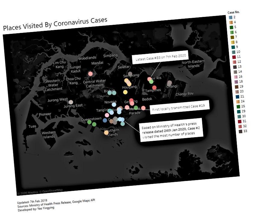 Kartta paikoista, joissa koronavirustapaukset ovat käyneet Singaporessa