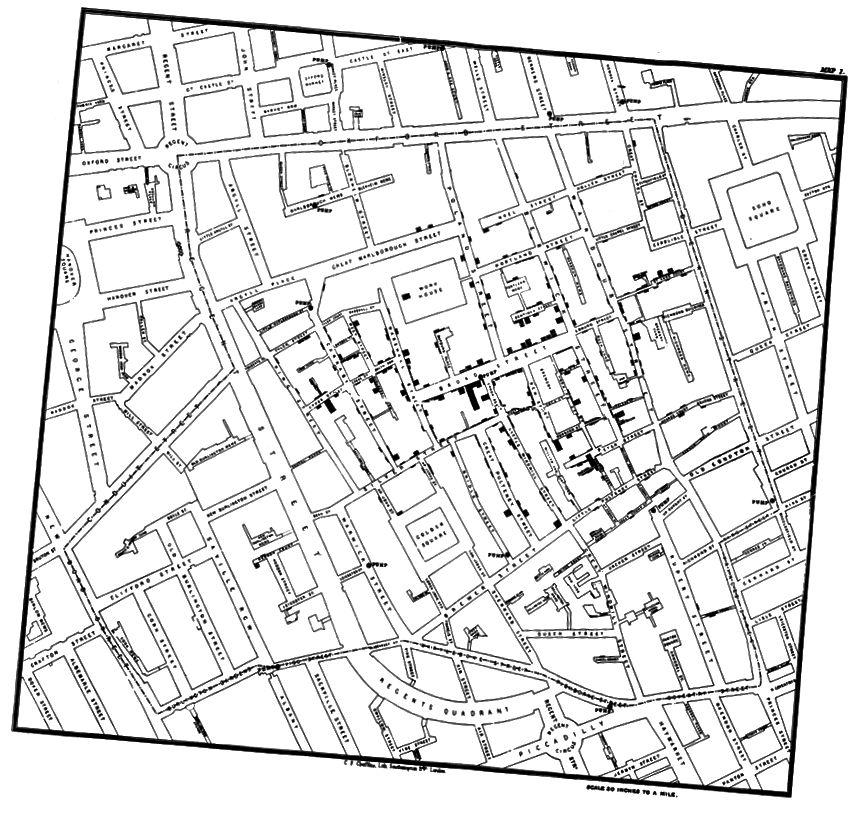 (Карта записей Джона Сноу о случаях заболевания холерой в Лондоне.)