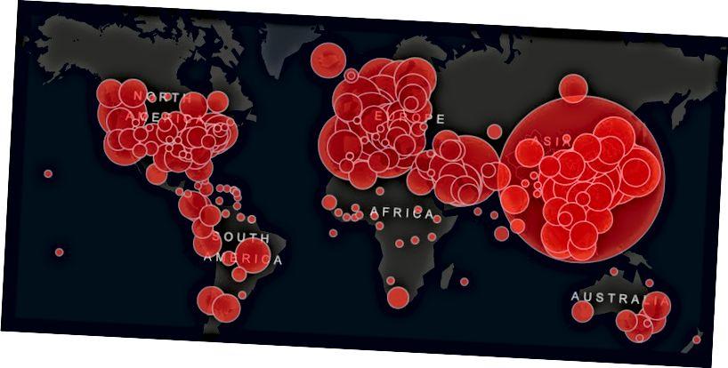 Casos actuales a las 9:27 del 14 de marzo (Imagen del mapa en vivo en John Hopkins)
