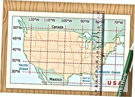 Одређивање координата ширине и дужине на мапи