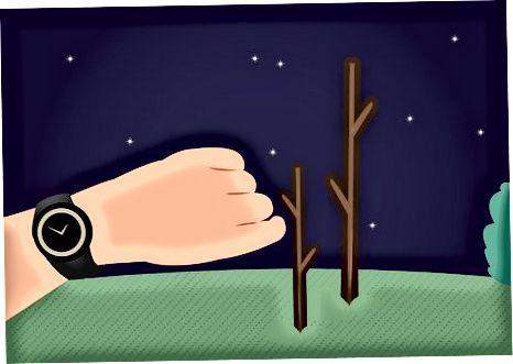 Използване на две пръчки през нощта в Северното полукълбо